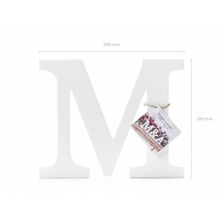 Lettre en bois M, blanc, 25x20cm