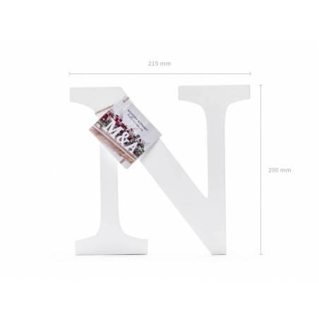 Lettre N en bois, blanc, 21,5x20cm