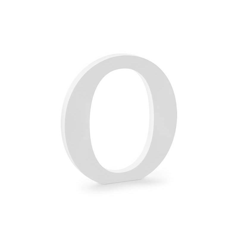 Lettre O en bois, blanc, 19,5x20,5 cm