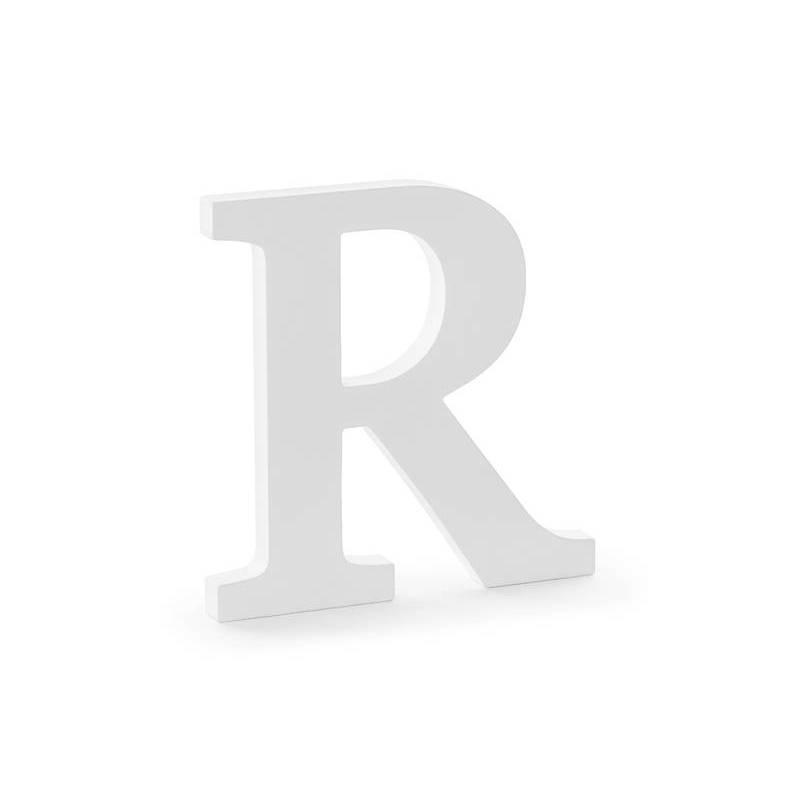 Lettre R en bois, blanc, 19,5x20cm