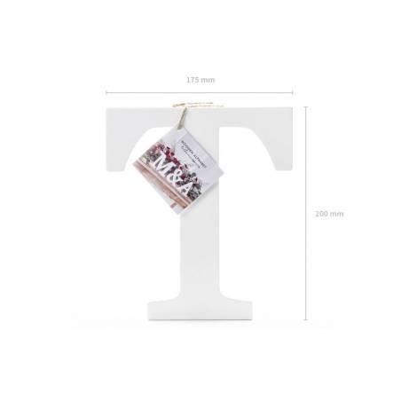 Lettre T en bois, blanc, 17,5x20cm