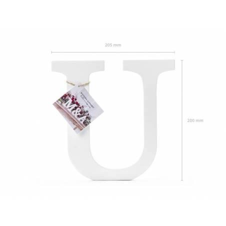 Lettre U en bois, blanc, 20,5x20cm