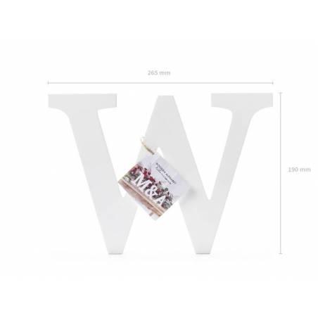 Lettre en bois W, blanc, 26,5x19cm
