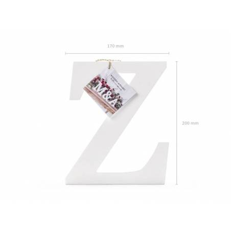 Lettre Z en bois, blanc, 17x20cm