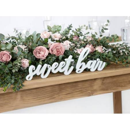 Inscription en bois Sweet bar, blanc, 37x10cm