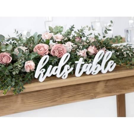 Table enfant en bois avec inscription, blanc, 38x10cm