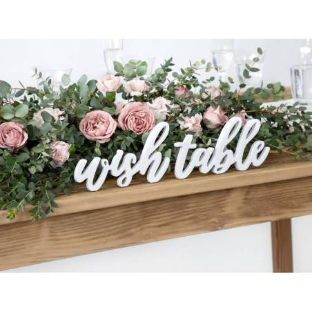 Inscription Table en bois Wish, blanc, 40x10cm