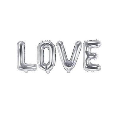 Foil Balloon Love, 140x35cm, argent