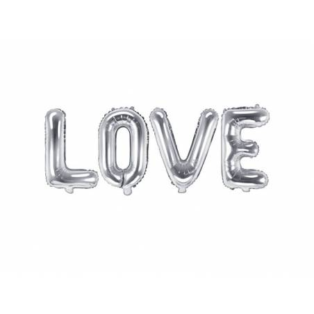 Foil Balloon Love, 140x35cm, argent
