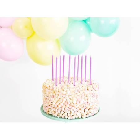 Bougies d'anniversaire unies lilas clair 14cm