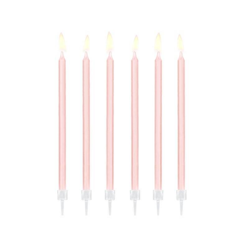 Bougies d'anniversaire unies rose clair 14cm