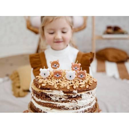 Bougies d'anniversaire Ours mix 3cm