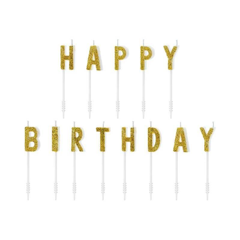 Bougies d'anniversaire Joyeux anniversaire or 25 cm