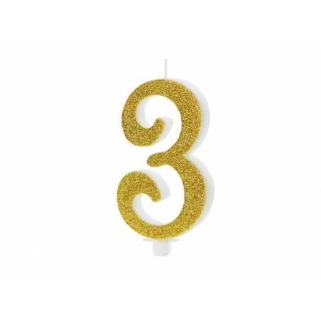 Bougie d'anniversaire numéro 3, or, 10cm