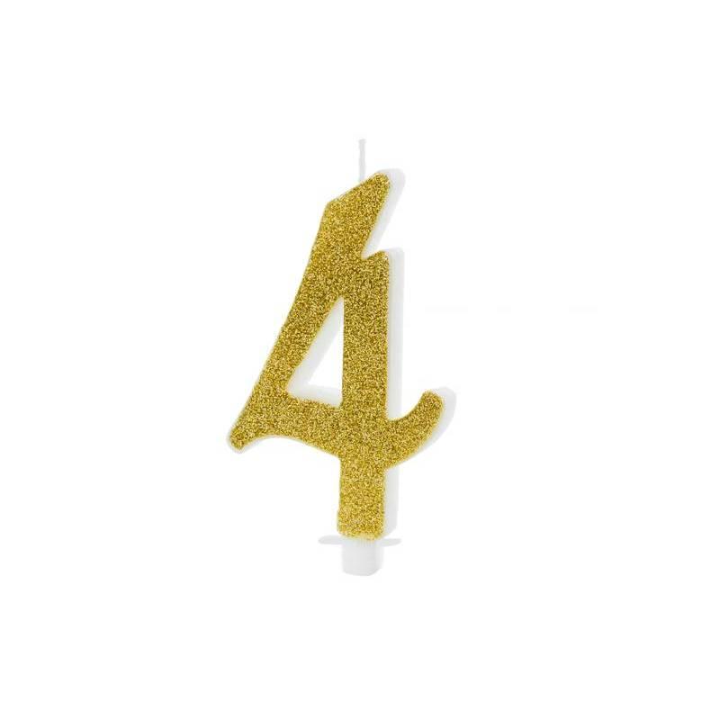 Bougie d'anniversaire numéro 4, or, 10cm