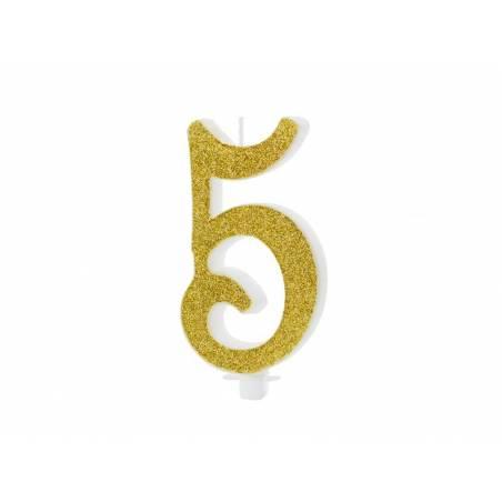 Bougie d'anniversaire numéro 5, or, 10cm