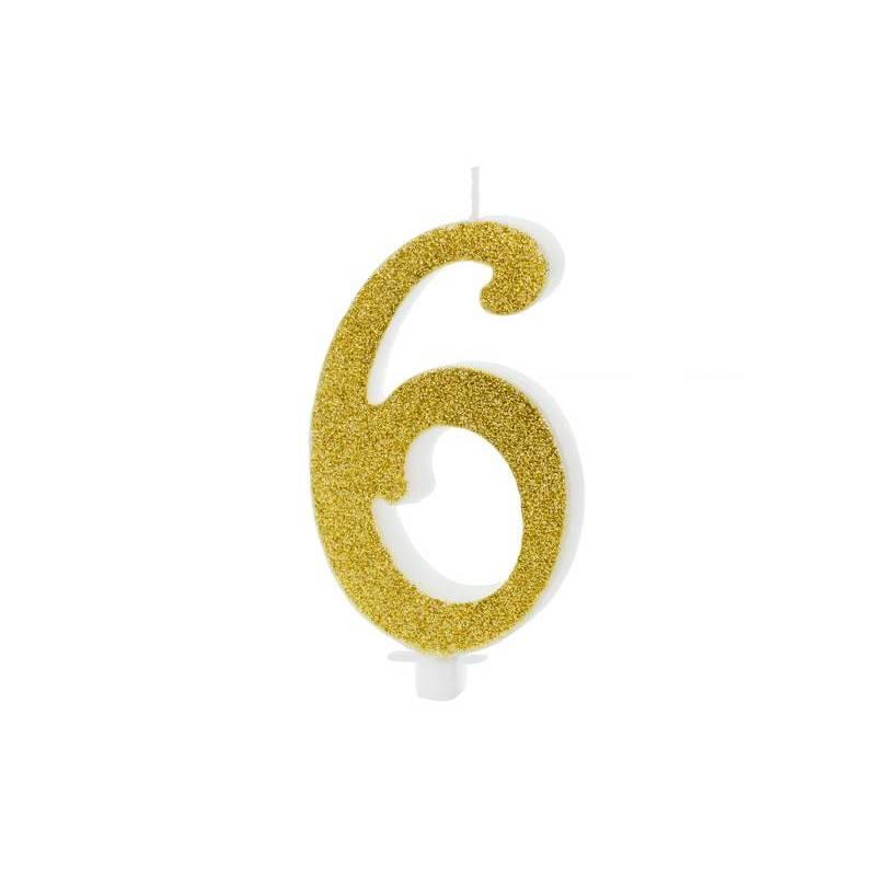 Bougie d'anniversaire numéro 6, or, 10cm