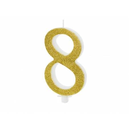 Bougie d'anniversaire numéro 8, or, 10cm