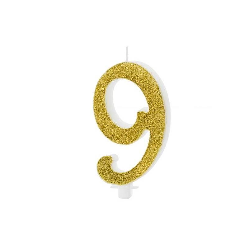 Bougie d'anniversaire numéro 9, or, 10cm
