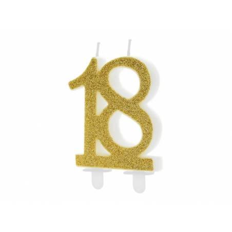 Bougie d'anniversaire numéro 18, or, 7,5 cm