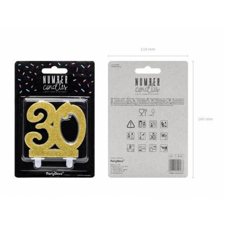 Bougie d'anniversaire numéro 30, or, 7,5 cm