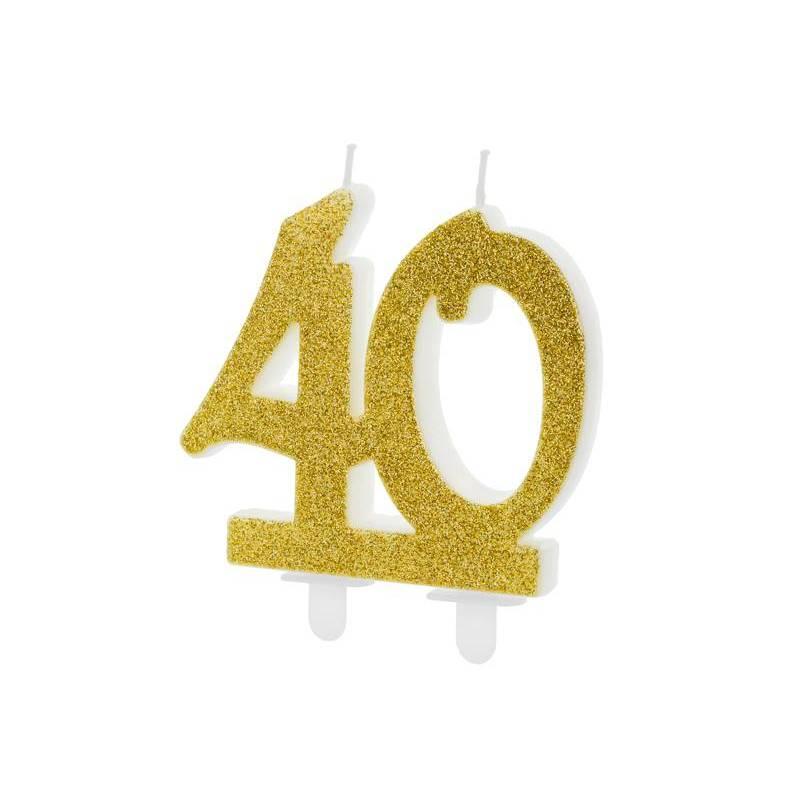 Bougie d'anniversaire numéro 40, or, 7,5 cm