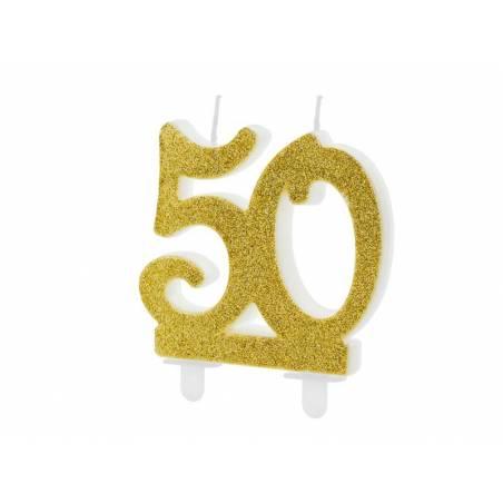 Bougie d'anniversaire numéro 50, or, 7,5 cm