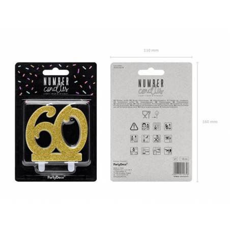 Bougie d'anniversaire numéro 60, or, 7,5 cm