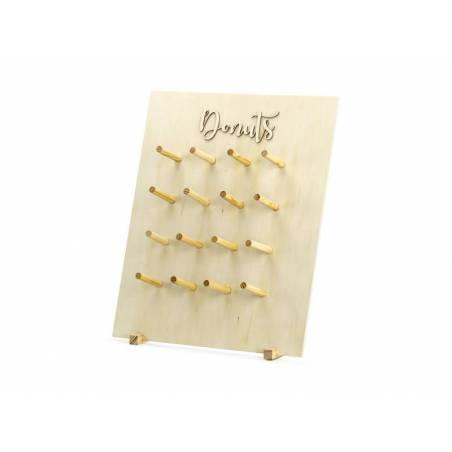 Mur de beignets, bois naturel, 45x55cm