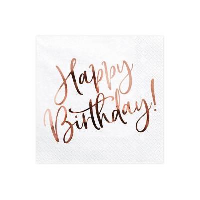Serviettes Happy Birthday blanc 33x33cm