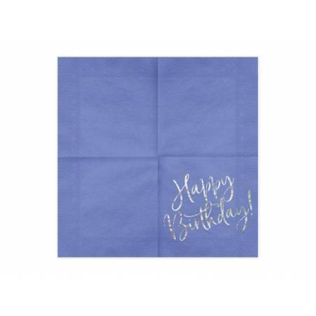 Serviettes Happy Birthday bleu marine 33x33cm