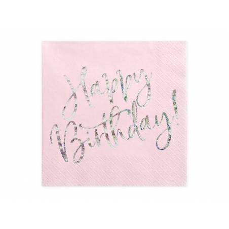 Serviettes Happy Birthday rose poudré clair 33x33cm