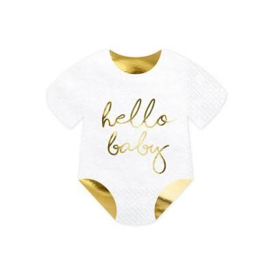 Serviette bébé barboteuse - Hello Baby blanc 16x16cm