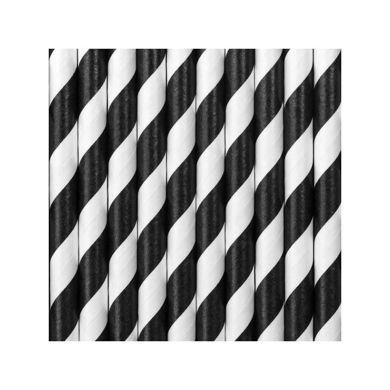 Pailles en papier noir 195 cm