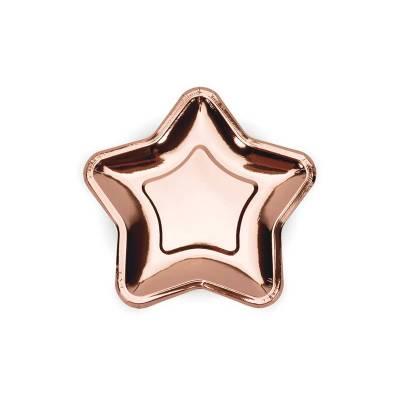 Assiettes en papier Star or rose 18cm