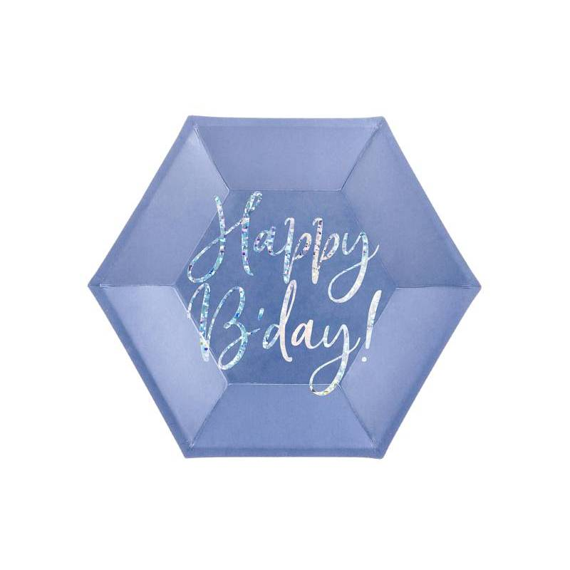 Assiettes Happy B'day ! bleu marine 20cm