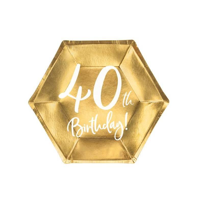 Assiettes 40e anniversaire or 20cm