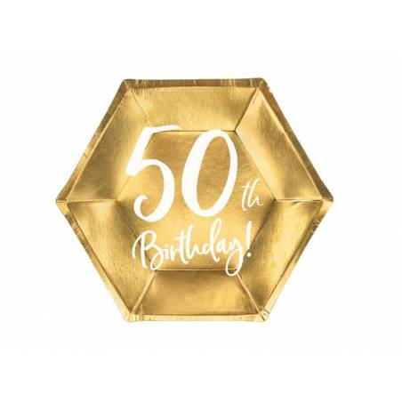 Assiettes 50e anniversaire or 20cm