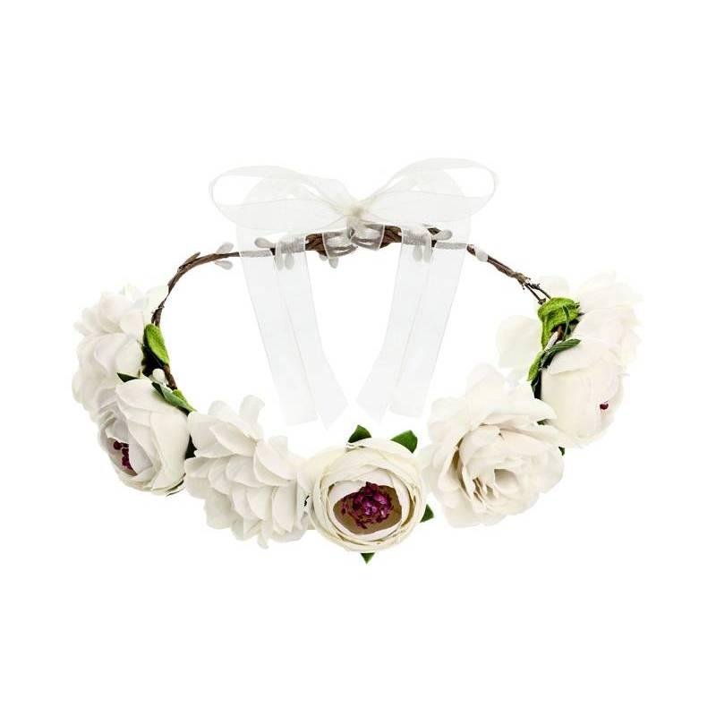 Couronne de fleurs, blanche, 17cm