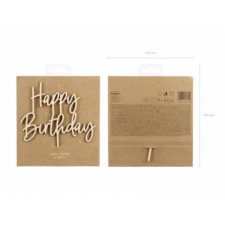 Topper en bois Joyeux anniversaire, 16,5 cm