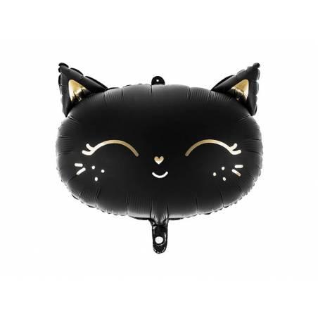 Chat ballon en aluminium, 48x36cm, noir
