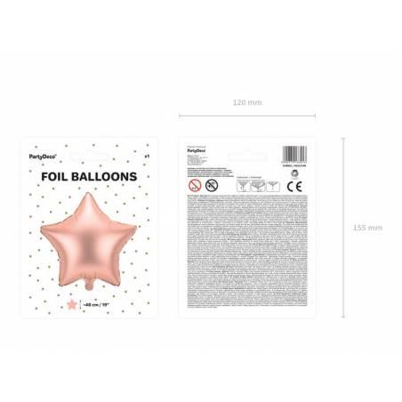 Ballon aluminium Star, 48cm, or rose
