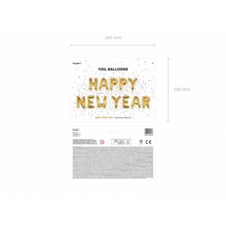 Ballon aluminium Happy New Year, 370x35cm, or
