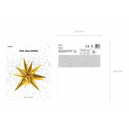 Ballon aluminium Star 3D, 95cm, or
