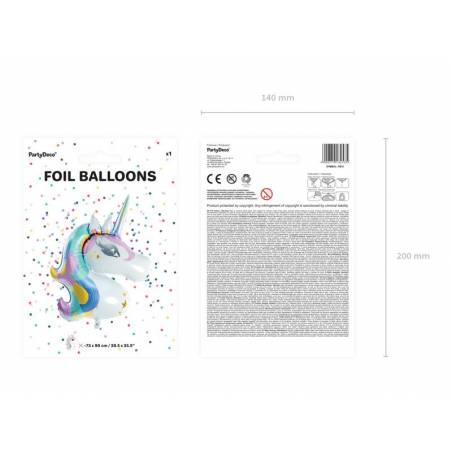 Ballon aluminium Licorne, 73x90cm, mix