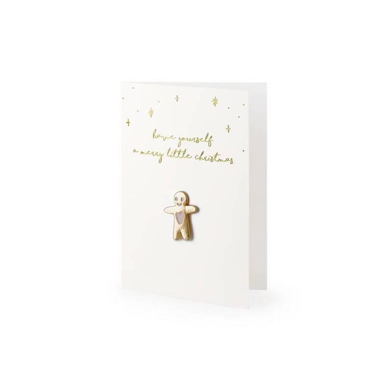 Carte avec épingle en émail Gingerbread Man, 10,5x14,8cm