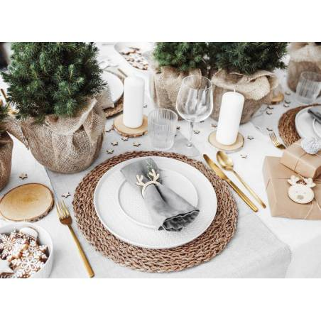 Anneaux en bois pour serviettes de table Renne bois naturel