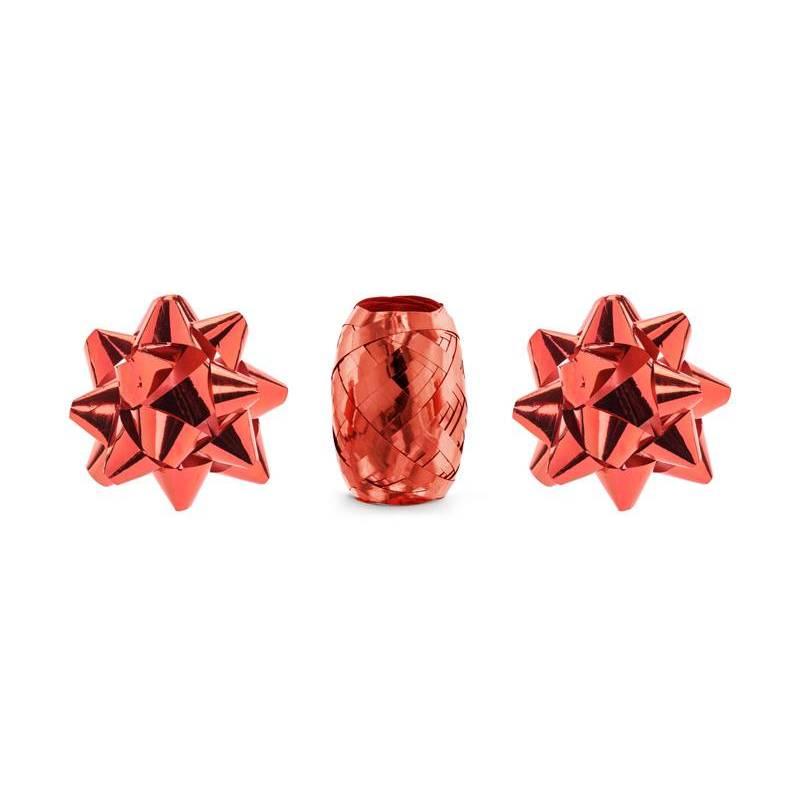 Ensemble de rubans et rosaces rouge mélange