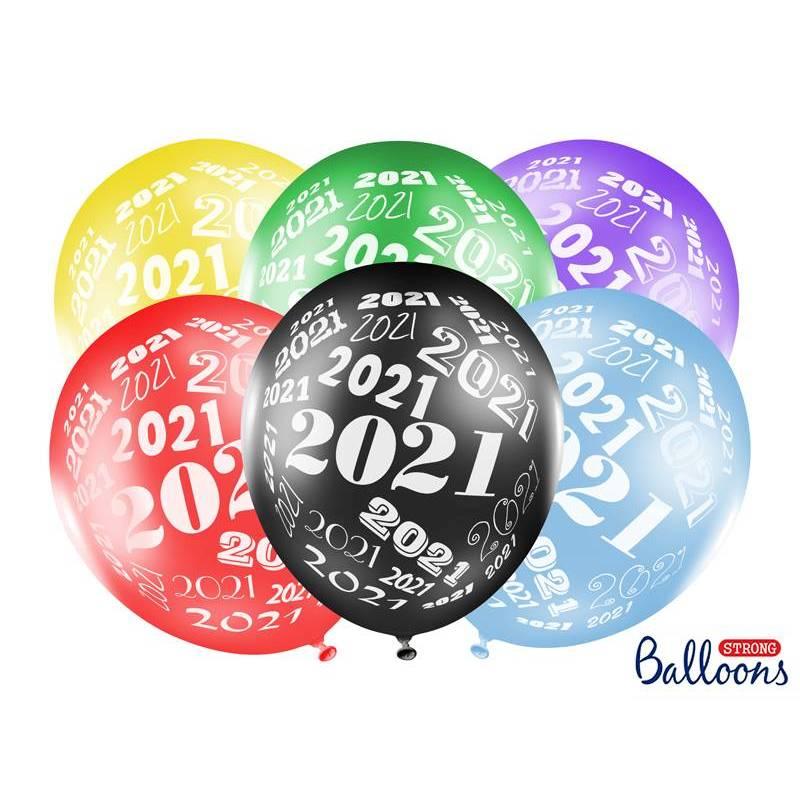 Ballons 30cm 2021 mélange métallique