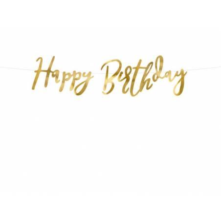 Bannière Joyeux anniversaire, or, 16,5x62cm